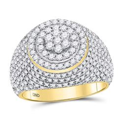 2 CTW Mens Round Diamond Flower Cluster Ring 10kt Yellow Gold - REF-177N3A