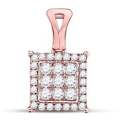 1/2 CTW Womens Round Diamond Square Cluster Pendant 14kt Rose Gold - REF-38R2X