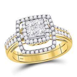 1 CTW Princess Diamond Cluster Bridal Wedding Engagement Ring 14kt Yellow Gold - REF-109R2X