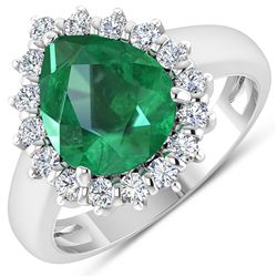 Natural 3.33 CTW Zambian Emerald & Diamond Ring 14K White Gold - REF-141M7T