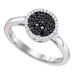 1/4 CTW Womens Black Color Enhanced Diamond Halo Cluster Ring 10k White Gold - REF-19F6W