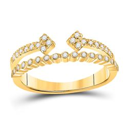 1/4 CTW Womens Round Diamond Bisected Modern Fashion Ring 10kt Yellow Gold - REF-29F9W