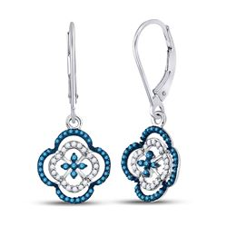 1/3 CTW Womens Round Blue Color Enhanced Diamond Quatrefoil Dangle Earrings 10kt White Gold - REF-23
