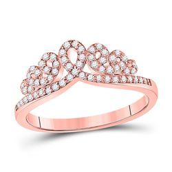 1/3 CTW Womens Round Diamond Fashion Crown Band Ring 10kt Rose Gold - REF-36N2A