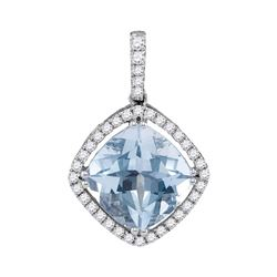 2 & 1/5 CTW Womens Cushion Aquamarine Diamond Solitaire Pendant 14kt White Gold - REF-88W5H