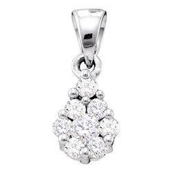 1/6 CTW Womens Round Diamond Flower Cluster Pendant 10kt White Gold - REF-13N5A