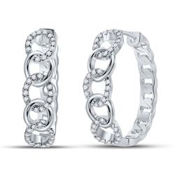 1/5 CTW Womens Round Diamond Cuban Curb Link Hoop Earrings 10kt White Gold - REF-39N5A