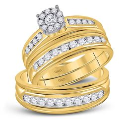 1 CTW His Hers Round Diamond Cluster Matching Wedding Set 14kt Yellow Gold - REF-122T6V
