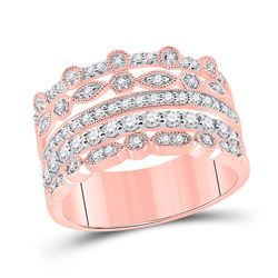 1/2 CTW Womens Round Diamond Stacked Band Ring 10kt Rose Gold - REF-57N3A
