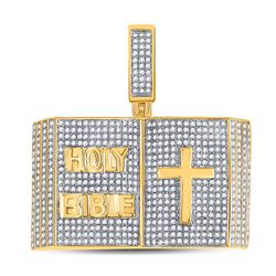 2 CTW Mens Round Diamond Bible Cross Charm Pendant 10kt Yellow Gold - REF-163N5A