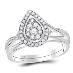 1/3 CTW Diamond Teardrop Cluster Bridal Wedding Ring 10kt White Gold - REF-36T2V