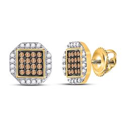 3/8 CTW Womens Round Brown Diamond Octagon Cluster Earrings 10kt Yellow Gold - REF-17V6Y