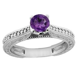 0.57 CTW Amethyst & Diamond Ring 14K White Gold - REF-53V2R