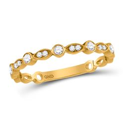 1/6 CTW Womens Round Diamond Stackable Band Ring 10kt Yellow Gold - REF-19V6Y