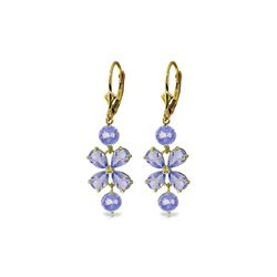 Genuine 5.32 ctw Tanzanite Earrings 14KT Yellow Gold - REF-75Y2F