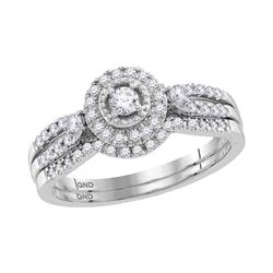 1/3 CTW Round Diamond Bridal Wedding Ring Band Set 10kt White Gold - REF-43N6A