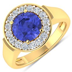 Natural 2.58 CTW Tanzanite & Diamond Ring 14K Yellow Gold - REF-100X8K