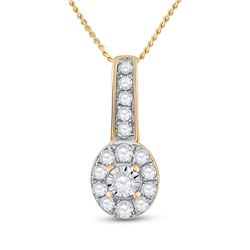 1/4 CTW Womens Round Diamond Oval Pendant 10kt Yellow Gold - REF-16R4X