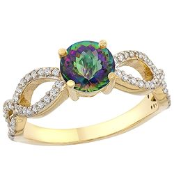 1.25 CTW Mystic Topaz & Diamond Ring 10K Yellow Gold - REF-49Y8V
