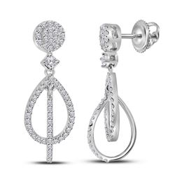 3/8 CTW Womens Round Diamond Double Teardrop Dangle Earrings 10kt White Gold - REF-27W3H