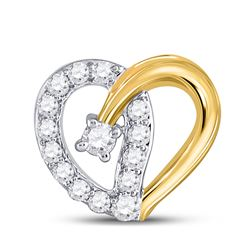 1/4 CTW Womens Round Diamond Outline Heart Pendant 10kt Two-tone Gold - REF-19W2H