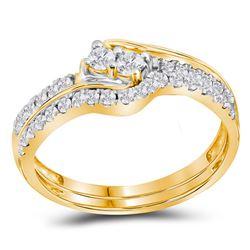 1/2 CTW Round Diamond 2-stone Bridal Wedding Ring 10kt Yellow Gold - REF-39Y5N