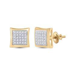 1/6 CTW Mens Round Diamond Kite Square Earrings 10kt Yellow Gold - REF-19Y2N