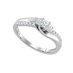 1/3 CTW Princess Diamond 3-stone Bridal Wedding Engagement Ring 14kt White Gold - REF-47T6V