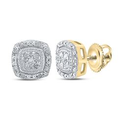 1/10 CTW Womens Round Diamond Cluster Earrings 10kt Yellow Gold - REF-15A7M