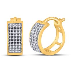 1/4 CTW Womens Round Diamond Huggie Earrings 10kt Yellow Gold - REF-23T3V
