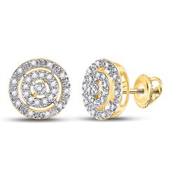 1/20 CTW Womens Round Diamond Circle Stud Earrings 10kt Yellow Gold - REF-15T2V