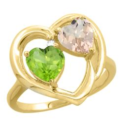 1.91 CTW Diamond, Peridot & Morganite Ring 14K Yellow Gold - REF-36M6A