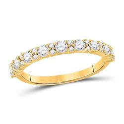 3/4 CTW Womens Round Diamond Single Row Band Ring 10kt Yellow Gold - REF-54X5T