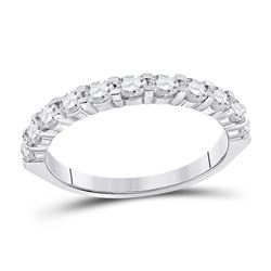 1 CTW Womens Round Diamond Wedding Single Row Band Ring 14kt White Gold - REF-95Y5N