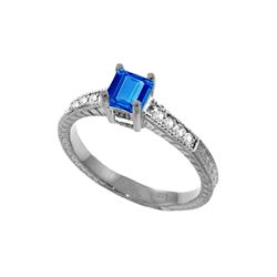 Genuine 0.65 ctw Blue Topaz & Diamond Ring 14KT White Gold - REF-69Z6N
