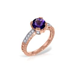 Genuine 1.80 ctw Amethyst & Diamond Ring 14KT Rose Gold - REF-98R3P
