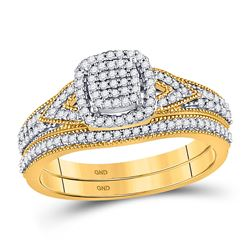 1/3 CTW Round Diamond Bridal Wedding Ring 10kt Yellow Gold - REF-38H2R