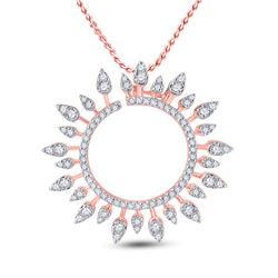 3/4 CTW Womens Round Diamond Sunburst Circle Pendant 14kt Rose Gold - REF-72F3W