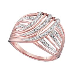 1/10 CTW Womens Round Diamond Open Stripe Fashion Ring 10kt Rose Gold - REF-17V6Y