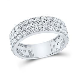 3 CTW Womens Round Diamond Pave Band Ring 14kt White Gold - REF-129N5A