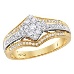 1/2 CTW Round Diamond Cluster Bridal Wedding Engagement Ring 10kt Two-tone Gold - REF-51M2F