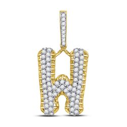 1 & 1/2 CTW Mens Round Diamond W Letter Charm Pendant 10kt Yellow Gold - REF-88T5V