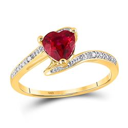 1 CTW Womens Heart Lab-Created Ruby Solitaire Diamond-accent Bypass Ring 10kt Yellow Gold - REF-15X5