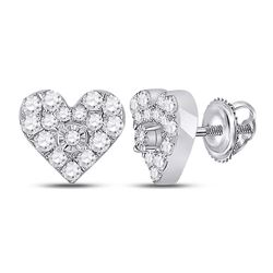 1/3 CTW Womens Round Diamond Heart Earrings 10kt White Gold - REF-27N3A