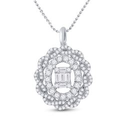 1 CTW Womens Baguette Diamond Oval Pendant 14kt White Gold - REF-107Y7N