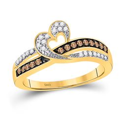 1/4 CTW Womens Round Brown Diamond Heart Ring 10kt Yellow Gold - REF-26A5M