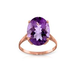 Genuine 7.55 ctw Amethyst Ring 14KT Rose Gold - REF-45F3Z