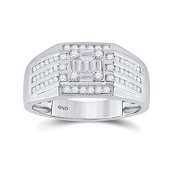 3/4 CTW Mens Baguette Diamond Square Ring 14kt White Gold - REF-102T3V
