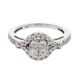 0.56 CTW Diamond Ring 14K White Gold - REF-64K4W