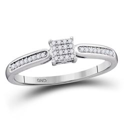 1/10 CTW Round Diamond Square Cluster Bridal Wedding Engagement Ring 10kt White Gold - REF-12M2F